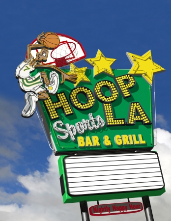Cool neon sign for a sports bar with blank marquee for customization