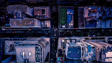 Foto per City streets at dusk as seen from above. Aerial photograph. Urban scene. - Immagine Royalty Free