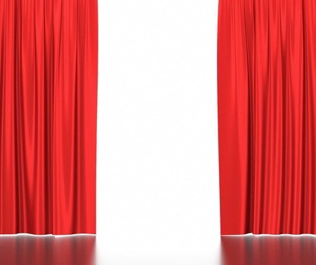 Open red silk curtains for theater and cinema with a white background