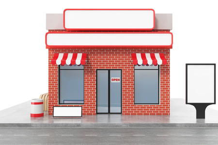 Foto de Store with copy space board isolated on white background. Modern shop buildings, store facades. Exterior market. Exterior facade store building. 3D rendering - Imagen libre de derechos