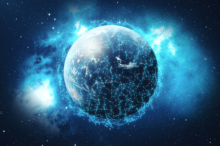 Photo pour 3D Rendering Global Network Background. Connection Lines with Dots Around Earth Globe. Global International Connectivity. - image libre de droit