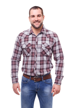 Man in checked shirt. Isolated on white background