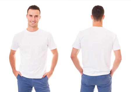 Photo pour Happy man in white t-shirt on white background - image libre de droit