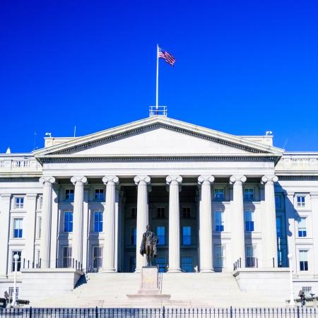U S  Treasury building and monument of Alexander Hamilton, Washington DC, USA
