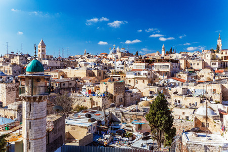 Photo pour Roofs of Old City with Holy Sepulcher Church Dome, Jerusalem, Israel - image libre de droit