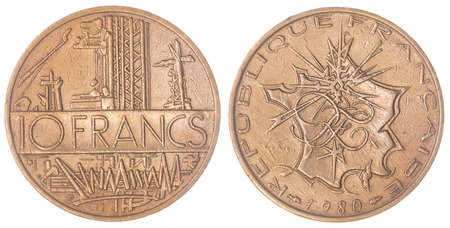 Aluminum  Bronze 10 francs 1980 coin isolated on white background, France