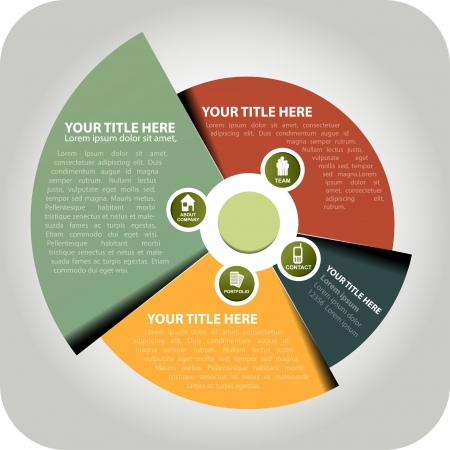 Abstract circle background with icons for company information