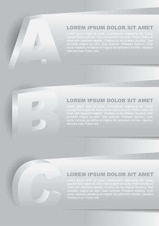 Abstract vector background with plasticity ABC choices and place for text content. Can use for web, brochure, flyer, poster with three selections