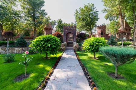 Photo pour Garden design and decoration like a fortress or castle. - image libre de droit
