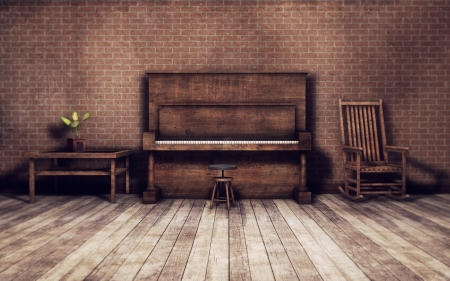 Old piano in an old vintage room