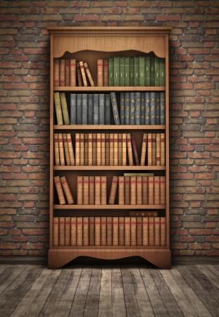 Photo pour Old bookshelf in room background - image libre de droit