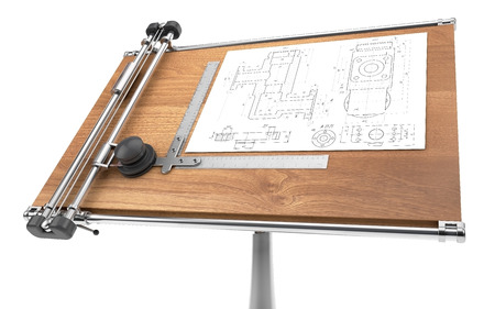 drawing table with project blueprint