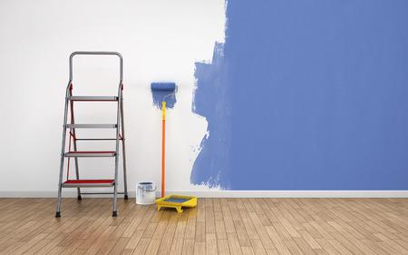 Photo pour Painting walls in empty room. Renovation house - image libre de droit