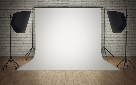 Photo studio equipment with white background