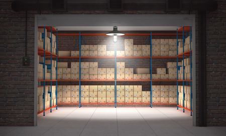 Photo for Open self storage unit full of cardboard boxes. 3d rendering - Royalty Free Image