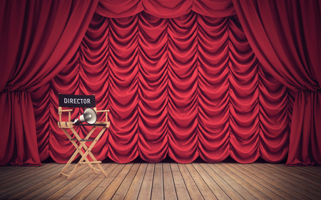 Photo pour Director's chair on stage with red curtains background - image libre de droit