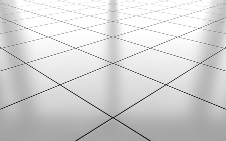 Foto de White glossy ceramic tile floor pattern background. 3d rendering - Imagen libre de derechos
