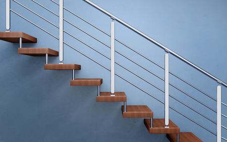 Photo pour Modern wooden staircase with chromed railing. 3d rendering - image libre de droit