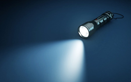 Photo for Flashlight and beam of light on a dark background. 3d rendering - Royalty Free Image