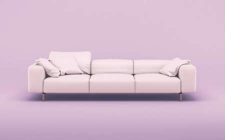 Photo pour Fashionable comfortable stylish pink fabric sofa on pink background. 3d rendering - image libre de droit