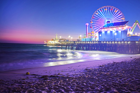 Santa Monica Beach at Night