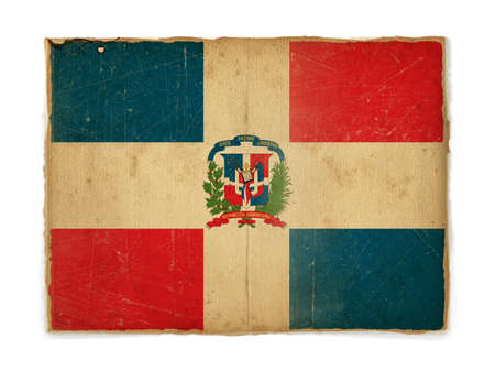 weathered flag of Dominican republic, paper textured