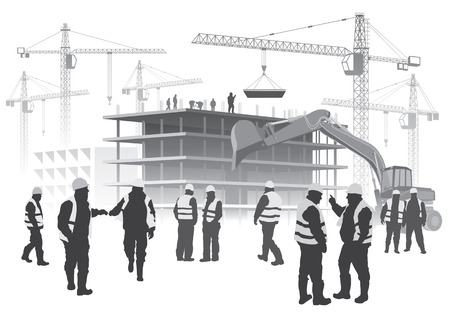 Illustration of house building and cranes with Construction workers