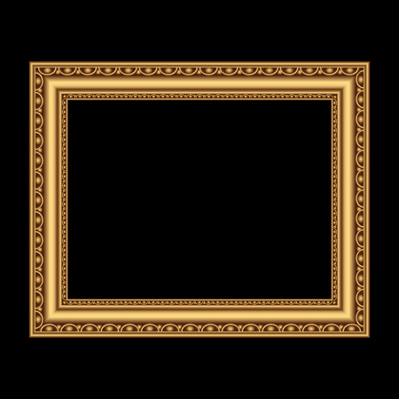 Golden antique frame for your picture. Vector illustration
