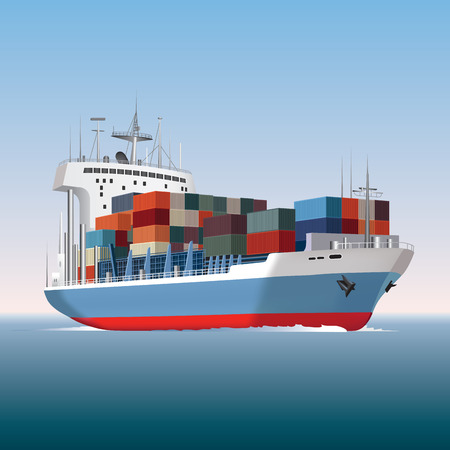 Cargo container ship sailing  Vector illustration