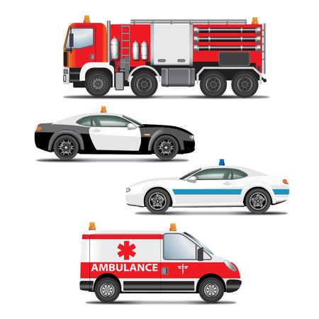 Set of emergency transport icons.  Fire truck, ambulance, police car