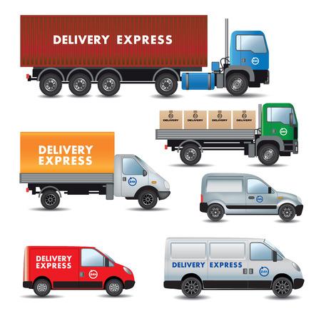 Ilustración de Delivery express. Set of delivery cars. Vector illustration - Imagen libre de derechos