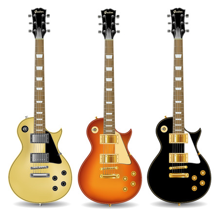 Set of electric guitars isolated on  white background. Vector illustration