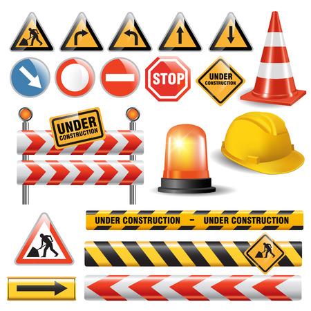 Photo pour Set of signs and symbols under construction. Vector illustration - image libre de droit