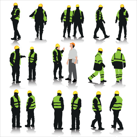 Ilustración de Set of construction workers silhouettes isolated on white. Vector illustration - Imagen libre de derechos