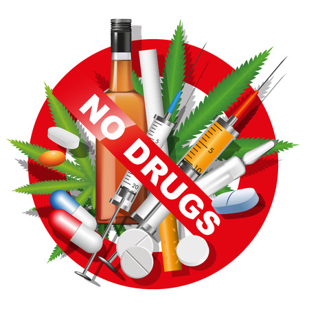 No drugs, smoking and alcohol sign. Vector illustration