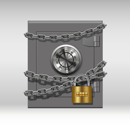 Illustration pour Security concept with metal safe, chain and padlock. Vector illustration - image libre de droit