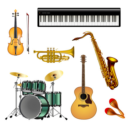Musical instruments isolated on white background. Vector illustration.