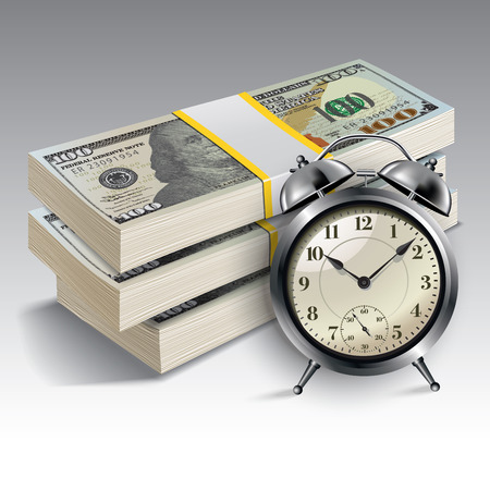 Illustration pour Clock and money. Time is money concept. Vector illustration. - image libre de droit