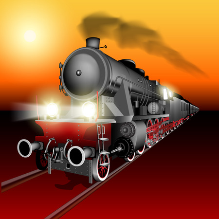 Illustration pour Steam engine train at sunset. Detailed vector Illustration - image libre de droit