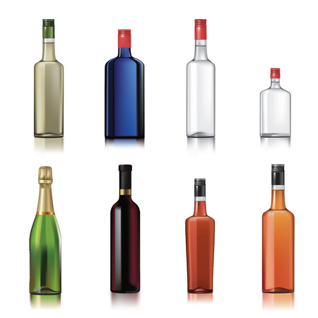 Set of alcohol bottles isolated on white. Vector illustration