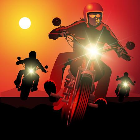 Illustration pour People driving motorcycles on sunset. - image libre de droit