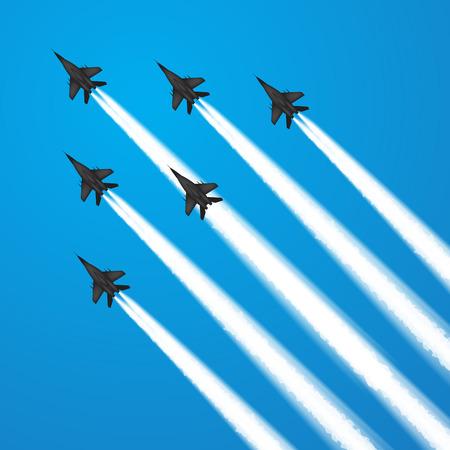 Military fighter jets during demonstration. Vector illustration