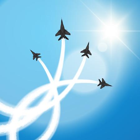 Military fighter jets perform aerial acrobatics. Vector illustration