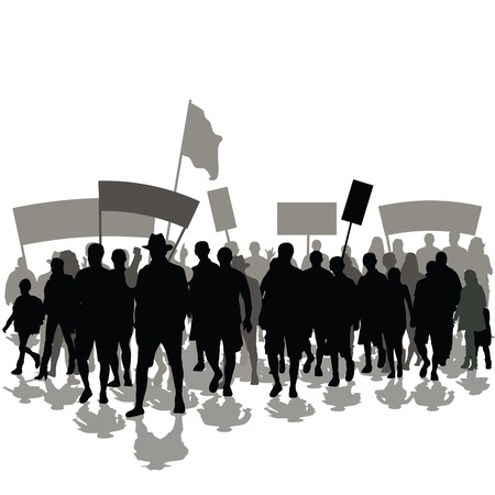 Protesters crowd with banners and flags. Vector illustration