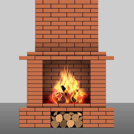 Brick fireplace with fire and firewood. Vector illustration