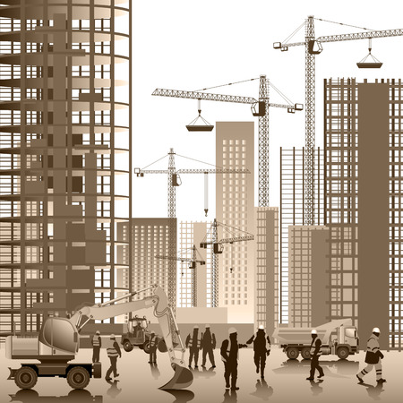 Ilustración de Construction site. Buildings under construction. Vector illustration - Imagen libre de derechos