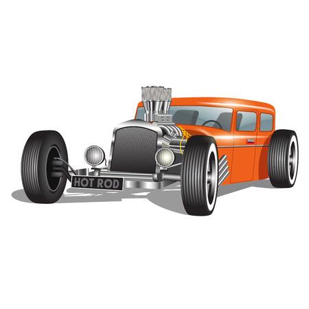 Ilustración de Custom car isolated on white. Vector illustration - Imagen libre de derechos