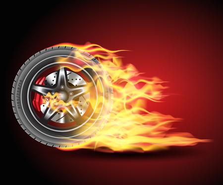 Racing hot wheels. Burning wheel tire isolated on black background. Vector illustration