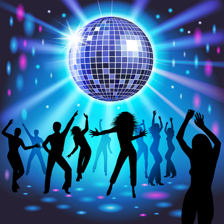 Silhouettes of a party crowd on a glowing lights background. Vector illustration