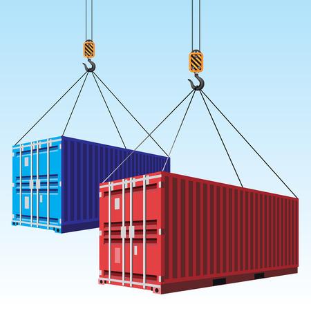 Ilustración de Cargo containers hoisted with hooks. Vector illustration - Imagen libre de derechos